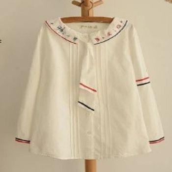 [協賀]符號條紋直筒棉長袖襯衫
