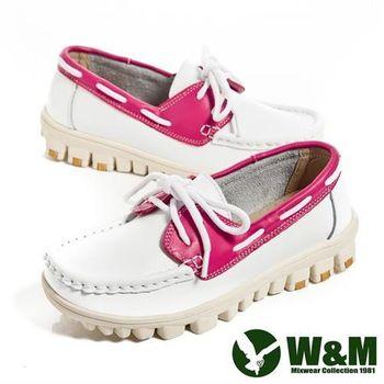 【W&M】亮眼配色皮革穿繩懶人鞋女鞋-白(另有藍、桃)