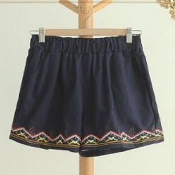 [協賀]刺繡鬆緊腰休閒短褲