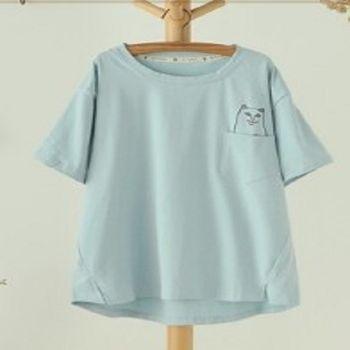 [協賀]貓咪短袖純色少女T卹
