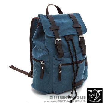 【AJ.亞介】洗舊復古感 皮革雙磁釦設計 帆布後背包 藍色 (UE8808)