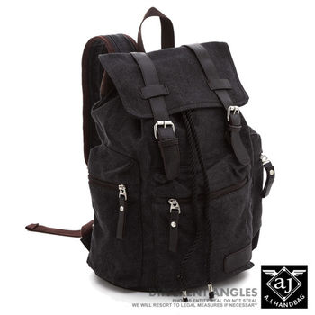 【AJ.亞介】洗舊復古感 皮革雙磁釦設計 帆布後背包 (UE8808)