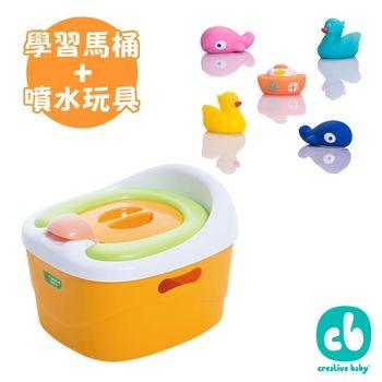 Creative Baby 多功能三合一學習軟墊馬桶+水上樂園噴水洗澡玩具5入/組