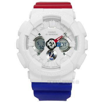 G-SHOCK CASIO / GA-120TRM-7A / 卡西歐競飆極限運動電子橡膠手錶 白x紅藍 51mm