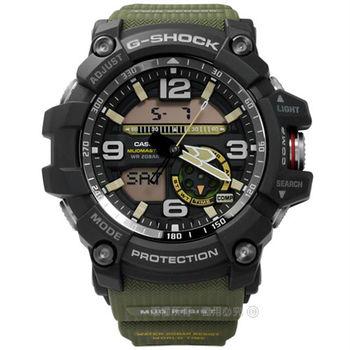 G-SHOCK CASIO / GG-1000-1A3 / 卡西歐極限的險峻顛簸運動電子橡膠手錶 黑x軍綠 52mm