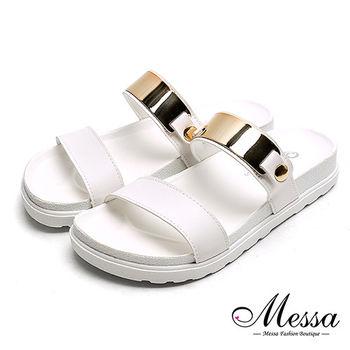 【Messa米莎專櫃女鞋】MIT歐美個性金屬一字寬帶厚底涼拖鞋-白色