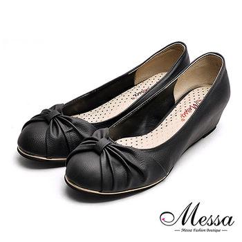 【Messa米莎專櫃女鞋】MIT優雅扭結金屬夾心內增高娃娃鞋-黑色