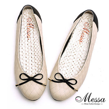 【Messa米莎專櫃女鞋】MIT氣質名媛格菱紋圓頭內真皮娃娃鞋-米色