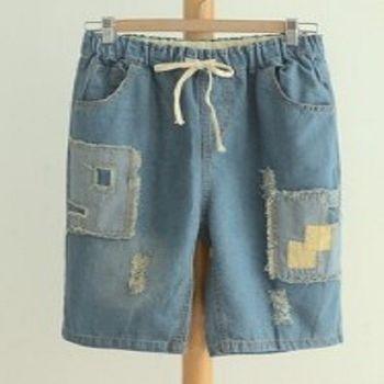 [協賀]復古破洞女中褲牛仔褲貼佈毛邊褲