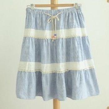 [協賀]蕾絲拼接條紋長裙