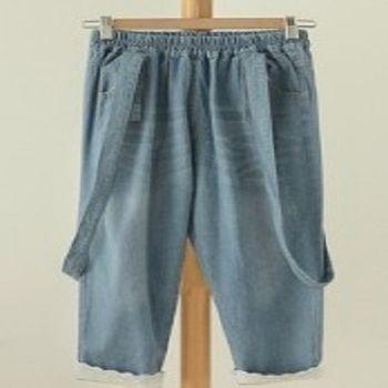 [協賀]百搭牛仔背帶褲休閒七分褲