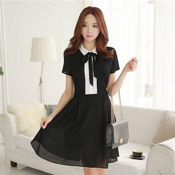 Lady.Dress-黑白學院修身洋裝【MALL123嚴選】