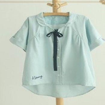 [協賀]字母刺繡棉短袖襯衫