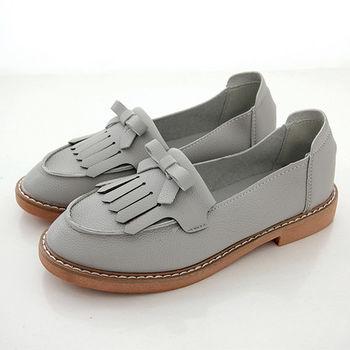 《DOOK》超柔軟流蘇蝴蝶結低跟莫卡辛鞋-灰色