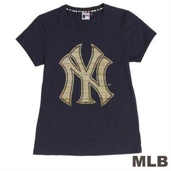 MLB-紐約洋基隊細緻木紋T恤-靛藍(女)
