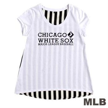 MLB-芝加哥白襪隊前短後長條紋T恤-白(女)