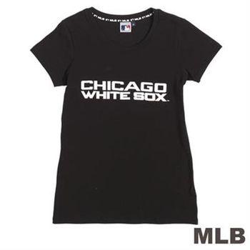 MLB-芝加哥白襪隊前後LOGO短袖T恤-黑(女)