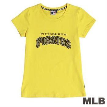 MLB-匹茲堡海盜隊前後LOGO短袖T恤-黃(女)
