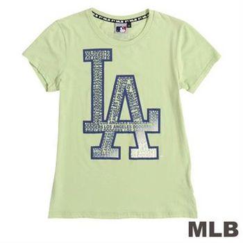 MLB-洛杉磯道奇隊文字拼貼短袖T恤-淺綠(女)