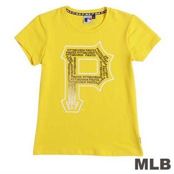 MLB-匹茲堡海盜隊文字拼貼短袖T恤-黃(女)