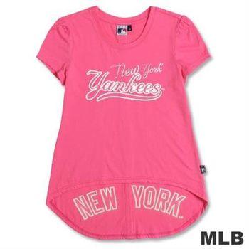 MLB-紐約洋基隊前短後長T恤-深粉紅(女)