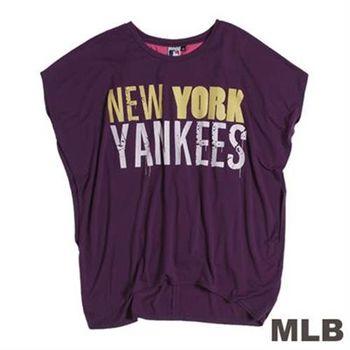 MLB-紐約洋基隊亮麗前短後長T恤-深紫(女)