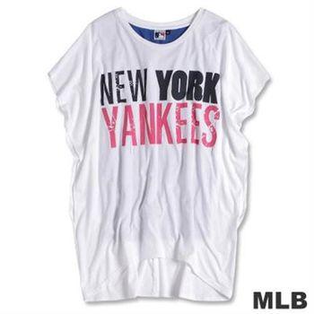 MLB-紐約洋基隊亮麗前短後長T恤-白(女)