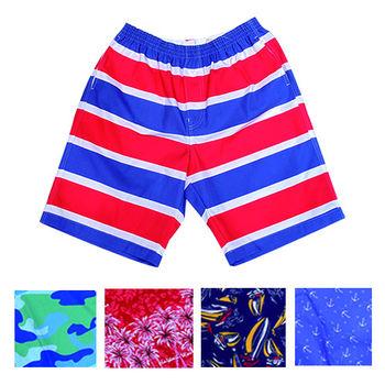【MURANO】(超值5件組)MIT多色系鬆緊帶印花沙灘褲 (男) 限定5件組合出貨