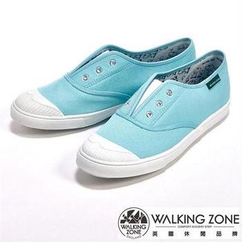 WALKING ZONE 輕盈素面懶人帆布休閒走路鞋女鞋-藍