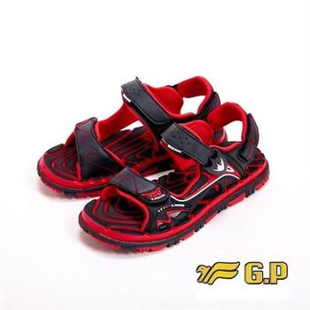 【G.P】色彩繽紛休閒童涼鞋童鞋-黑紅(另有黃)