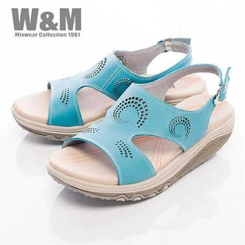 【W&M】FIT 螺旋洞洞造型健走族健塑鞋扣環女鞋-藍(另有黃)