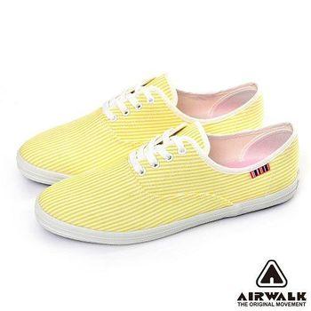 【美國 AIRWALK】繽紛馬卡龍經典條紋帆布鞋 -女 -(俏皮黃)