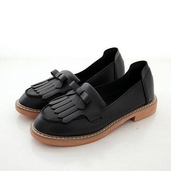 《DOOK》超柔軟流蘇蝴蝶結低跟莫卡辛鞋-黑色