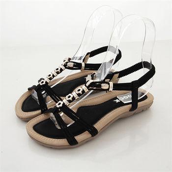 《DOOK》小花金屬串珠平底涼鞋-黑色