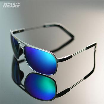 Nessie尼斯眼鏡 休閒偏光太陽眼鏡 - 飛官灰藍  經典時尚  雷朋框 防風 墨鏡 贈眼鏡盒 抗 UV 紫外線 防曬 極輕TR90