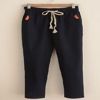 [協賀]長褲繫帶藏青森褲子