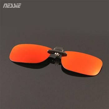 Nessie尼斯眼鏡 休閒偏光太陽眼鏡夾片 - 紅黑  經典時尚 防風 墨鏡 贈眼鏡收納袋 抗 UV 紫外線 防曬