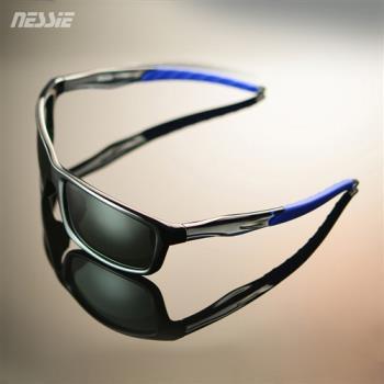 Nessie尼斯眼鏡 休閒偏光太陽眼鏡 -爵士藍 經典時尚 大方框 防風 墨鏡 贈眼鏡盒 抗 UV 紫外線 防曬