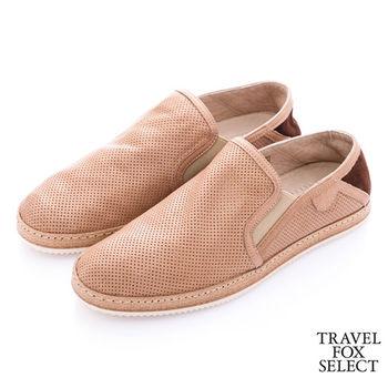 Travel Fox select(男) 文學家 網眼皮革舒適懶人鞋- 隨性淺棕