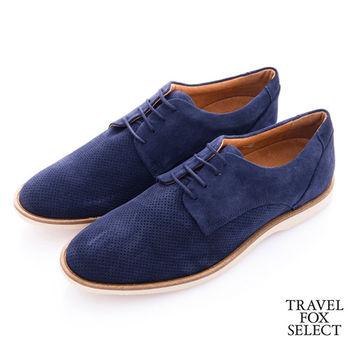 Travel Fox select(男) 弗羅倫斯的紳士 網眼麂絨繫帶紳士鞋-迷藍