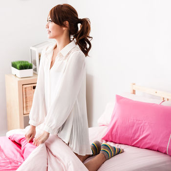【Domo】單人二件式枕套床包組精梳棉-素色雙色系 少女心