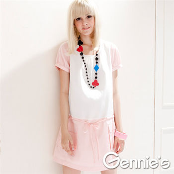 【Gennie's奇妮】粉漾佳人假兩件式春夏孕婦洋裝(G1310)