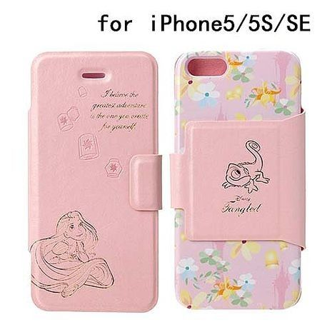 iJacket 迪士尼 iPhone SE/5/5s 金箔壓花 側翻式皮套 - 長髮公主