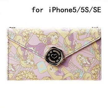 iJacket 迪士尼 iPhone SE/5/5s 信封系列 折疊式側掀皮套 附掛鍊 - 長髮公主