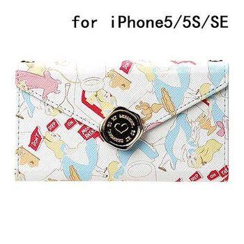 iJacket 迪士尼 iPhone SE/5/5s 信封系列 折疊式側掀皮套 附掛鍊 - 愛麗絲夢遊仙境