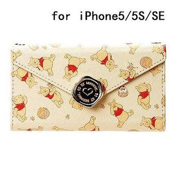 iJacket 迪士尼 iPhone SE/5/5s 信封系列 折疊式側掀皮套 附掛鍊 - 小熊維尼