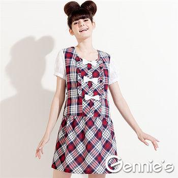 【Gennie's奇妮】俏麗格紋棉質春夏孕婦洋裝-紅 (G1323)