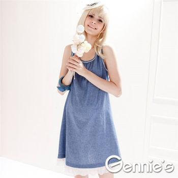 【Gennie's奇妮】俏麗風采棉質春夏孕婦背心洋裝-藍 (G1325)