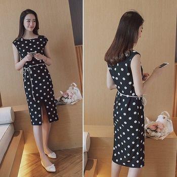 (現貨+預購 RN-girls)-韓版夏裝新款時尚圓領無袖圓點修身顯瘦連身裙