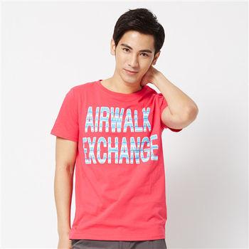 AIRWALK(男) - Exchange 文字圓領T - 桃紅